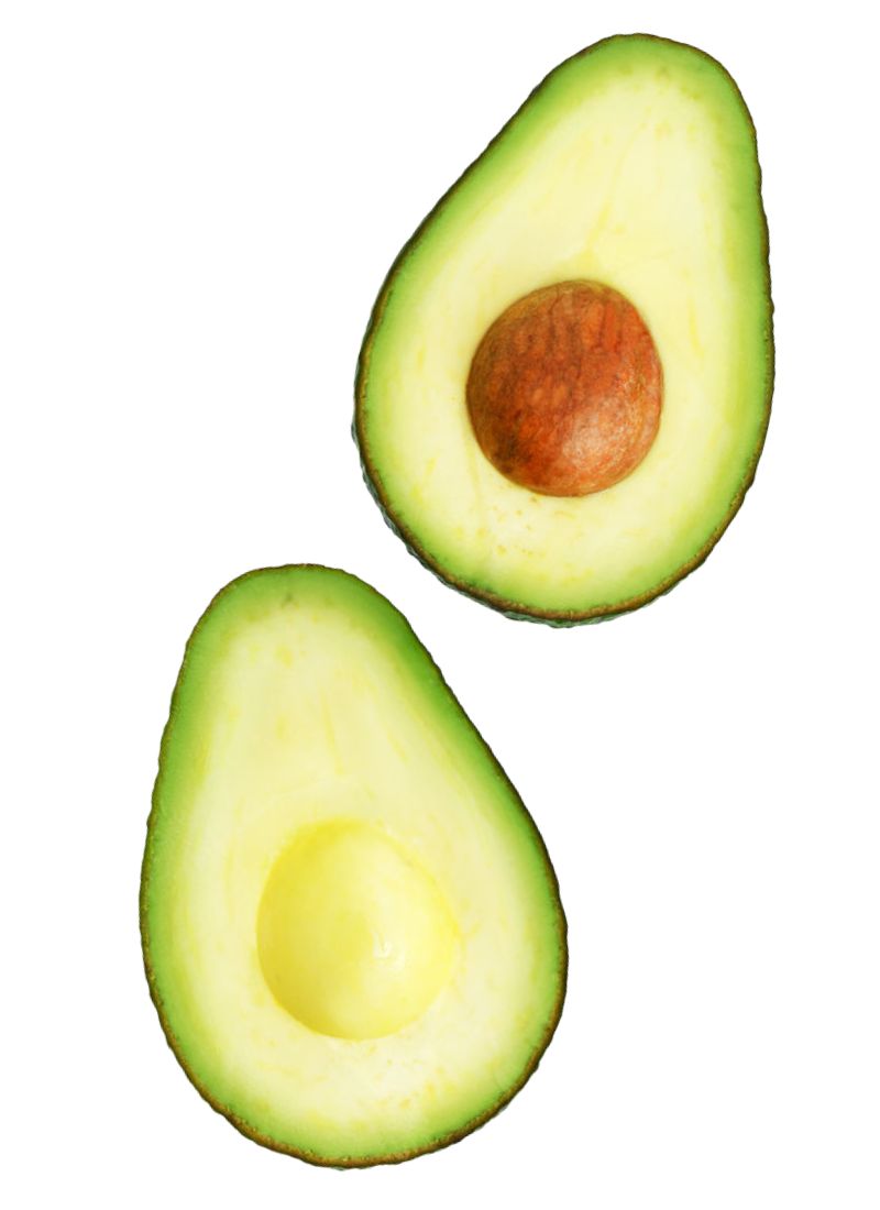 Two halves of avocados from Colombia floating